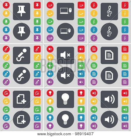 Pin, Laptop, Clef, Microphone, Mute, Text File, File, Light Bulb, Sound Icon Symbol. A Large Set Of