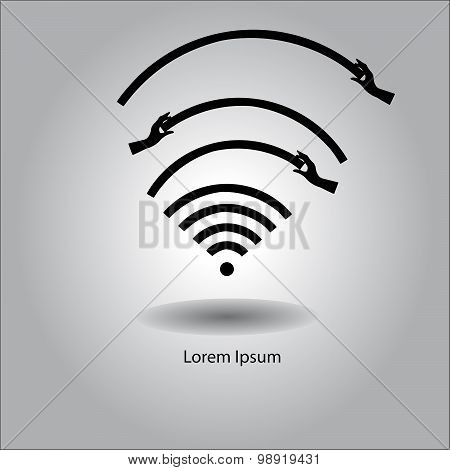Illustration Vector Wireless Wifi Icon With Hand Holding Signal To Make The Signal Better.
