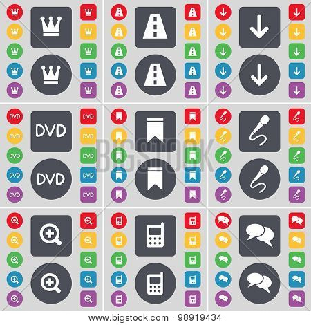Crown, Road, Arrow Down, Dvd, Marker, Microphone, Magnifying Glass, Calculator, Chat Icon Symbol. A