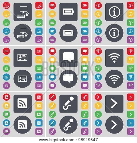 Pc, Battery, Information, Contact, Chat Bubble, Wi-fi, Rss, Microphone, Arrow Right Icon Symbol. A L