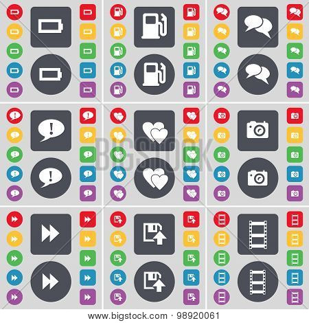 Battery, Gas Station, Chat, Chat Bubble, Heart, Camera, Rewind, Floppy, Negative Films Icon Symbol.
