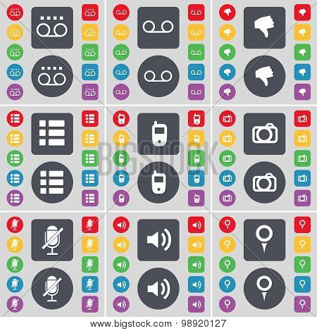 Cassette, Dislike, List, Mobile Phone, Camera, Microphone, Sound, Checkpoint Icon Symbol. A Large Se