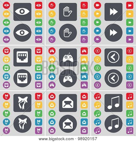 Vision, Hand, Rewind, Lan Socket, Gamepad, Arrow Left, Bow, Message, Note Icon Symbol. A Large Set O