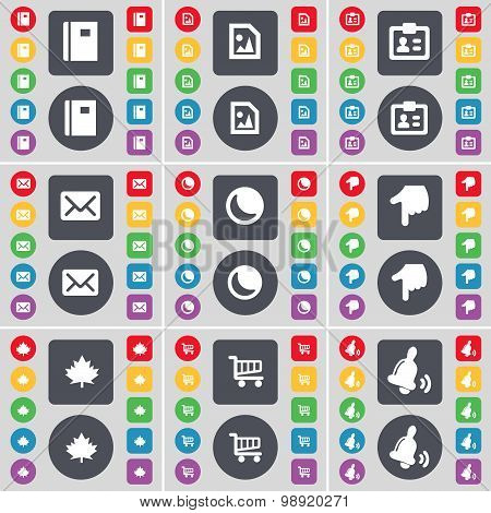 Notebook, Media File, Contact, Message, Moon, Hand, Maple Leaf, Shopping Cart, Bell Icon Symbol. A L