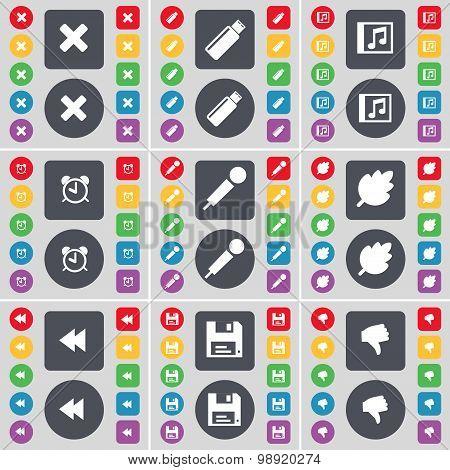 Stop, Usb, Music Window, Alarm Clock, Microphone, Leaf, Rewind, Floppy, Dislike Icon Symbol. A Large