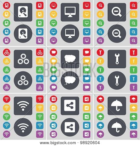 Hard Drive, Monitor, Magnifying Glass, Gear, Chat Bubble, Wrench, Wi-fi, Share, Umbrella Icon Symbol