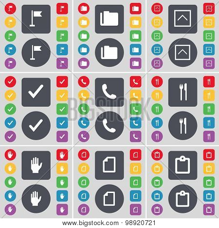 Golf Hole, Folder, Arrow Up, Tick, Receiver, Fork And Knife, Hand, File, Survey Icon Symbol. A Large
