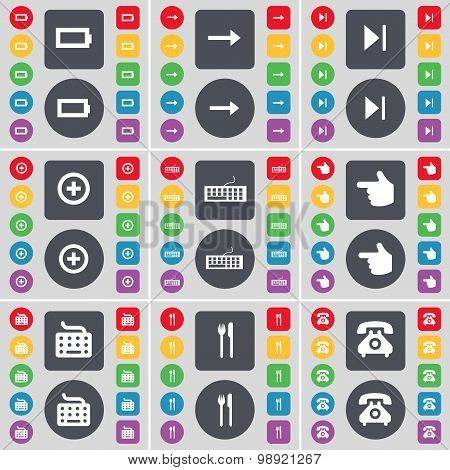 Battery, Arrow Right, Media Skip, Plus, Keyboard, Hand, Keyboard, Fork And Knife, Retro Phone Icon S