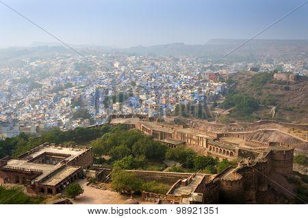 Jodhpur City In Rajasthan, India. View From The Mehrangarh Fort.