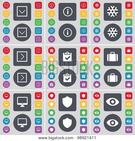 Arrow Down, Information, Snowflake, Arrow Right, Survey, Suitcase, Monitor, Badge, Vision Icon Symbo
