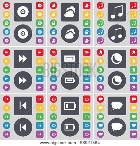 Disk, Cloud, Note, Rewind, Battery, Moon, Media Skip, Chat Cloud Icon Symbol. A Large Set Of Flat, C