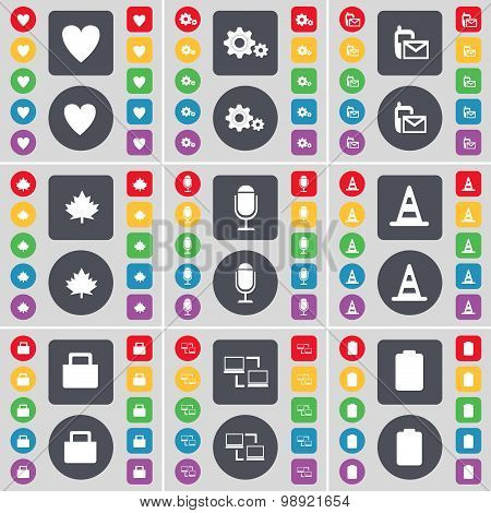 Heart, Gear, Sms, Maple Leaf, Microphone, Cone, Lock, Connection, Battery Icon Symbol. A Large Set O
