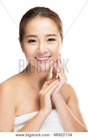 Beautiful spa woman with clean beauty skin, Beauty treatment concept.