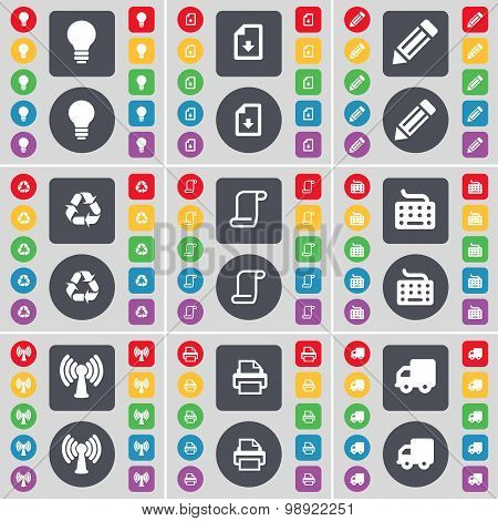 Light Bulb, Download File, Pencil, Recycling, Scroll, Keyboard, Wi-fi, Printer, Truck Icon Symbol. A