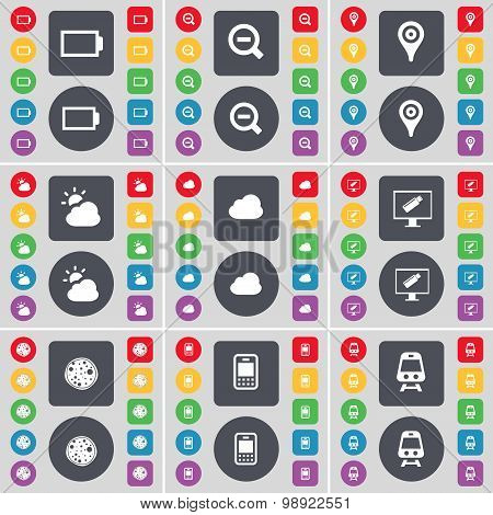 Battery, Magnifying Glass, Checkpoint, Cloud, Monitor, Pizza, Mobile Phone, Train Icon Symbol. A Lar