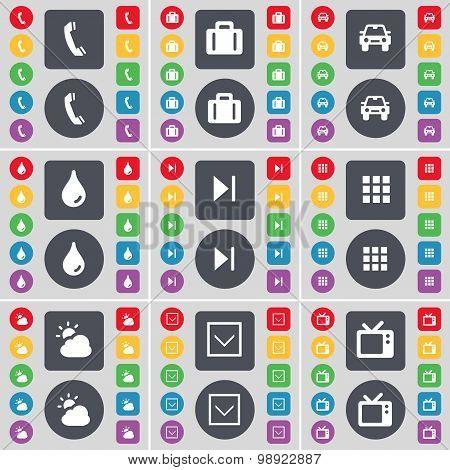 Receiver, Suitcase, Car, Drop, Media Skip, Apps, Cloud, Arrow Down, Retro Tv Icon Symbol. A Large Se
