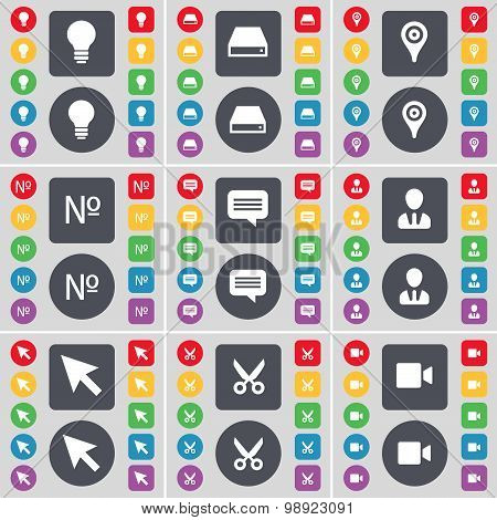 Light Bulb, Hard Drive, Checkpoint, Number, Chat Bubble, Avatar, Cursor, Scissors, Film Camera Icon