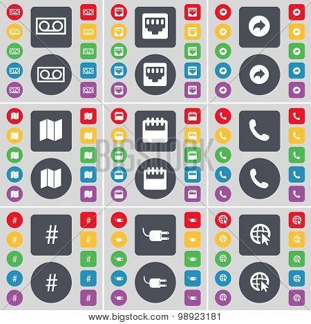 Cassette, Lan Socket, Back, Mail, Calendar, Receiver, Hashtag, Socket, Web Cursor Icon Symbol. A Lar