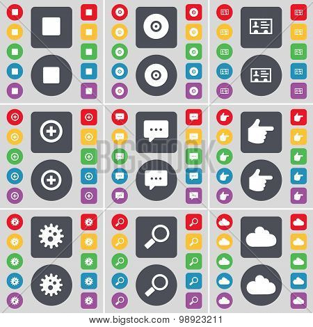 Media Stop, Disk, Contact, Plus, Chat Bubble, Hand, Gear, Magnifying Glass, Cloud Icon Symbol. A Lar