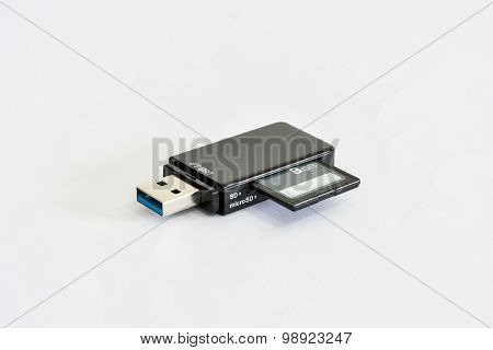 Usb Card Reader On White Background