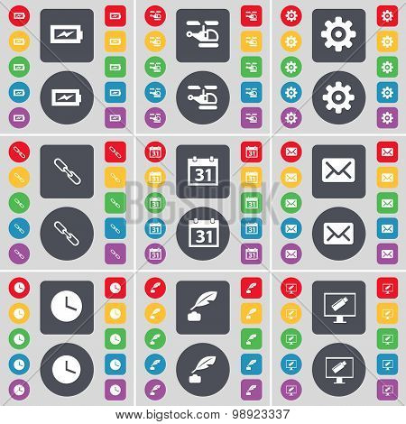 Charging, Helicopter, Gear, Link, Calendar, Message, Clock, Ink Pen, Monitor Icon Symbol. A Large Se