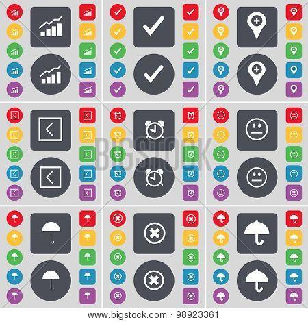 Graph, Tick, Checkpoint, Arrow Left, Alarm Clock, Smile, Umbrella, Stop Icon Symbol. A Large Set Of