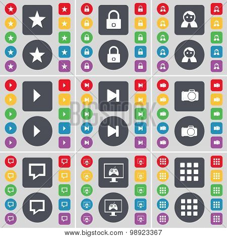 Star, Lock, Avatar, Media Play, Media Skip, Camera, Chat Bubble, Monitor, Apps Icon Symbol. A Large