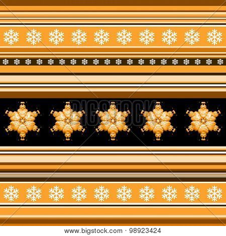 Winter Seamless Pattern - Striped With Snowflake Motif In Orange