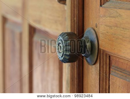 Door Handle Keyhole On Brown Wood Door