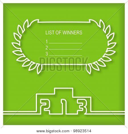 Winners podium template with list of winners