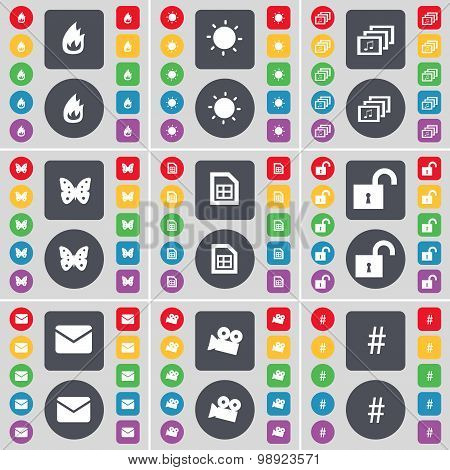 Fire, Light, Gallery, Butterfly, File, Lock, Message, Film Camera, Hashtag Icon Symbol. A Large Set