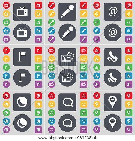 Retro Tv, Microphone, Mail, Golf Gole, Picture, Receiver, Moon, Chat, Checkpoint Icon Symbol. A Larg