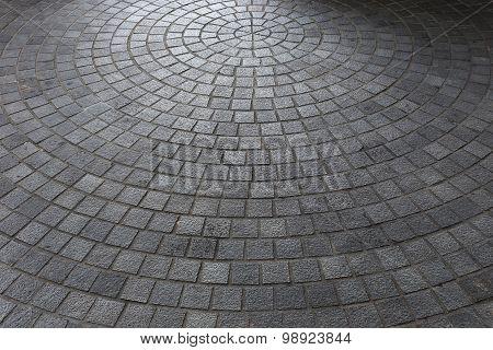 Stone Block Floor Of Pavement On City Street