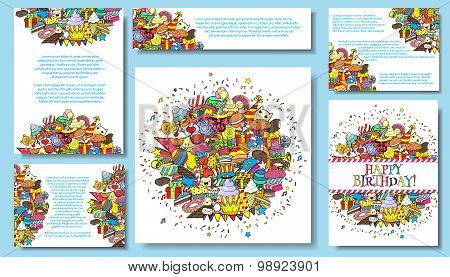 Set Vector Card Templates With Birthday Party Hand Draw Doodles Background