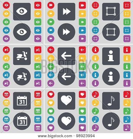 Vision, Rewind, Frame, Scooter, Arrow Left, Information, Calendar, Heart, Note Icon Symbol. A Large