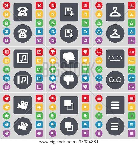 Retro Phone, Floppy, Hanger, Music Window, Dislike, Cassette, Film Camera, Copy, Apps Icon Symbol. A