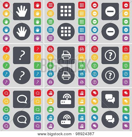 Hand, Apps, Minus, Question Mark, Printer, Question Mark, Chat Cloud, Router, Chat Icon Symbol. A La