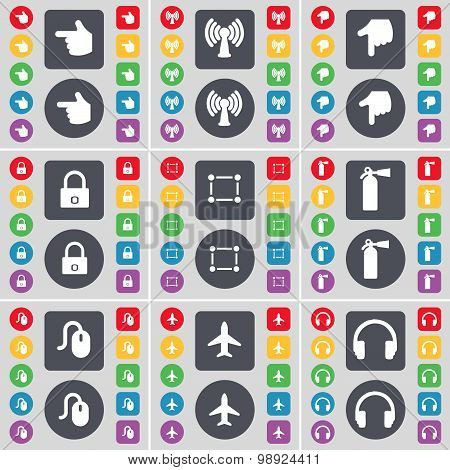 Hand, Wi-fi, Hand, Lock, Frame, Fire Extinguisher, Mouse, Airplane, Headphones Icon Symbol. A Large