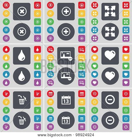 Stop, Plus, Full Screen, Drop, Picture, Heart, Trash Can, Calendar, Minus Icon Symbol. A Large Set O