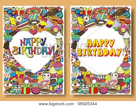 Greeting Cards Birthday Party With Sweets Doodles Background. Vector Hand Drawn Cartoon Illustration