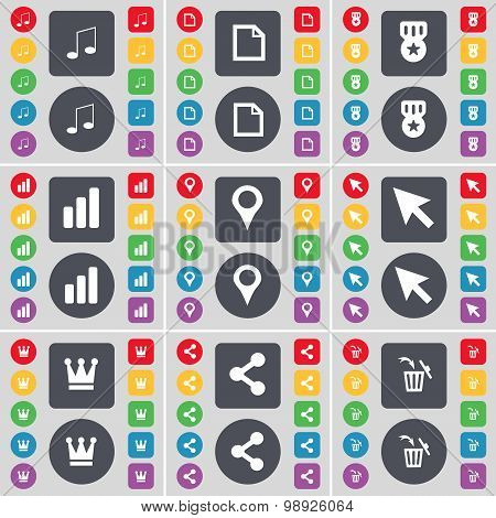 Note, File, Medal, Diagram, Checkpoint, Cursor, Crown, Share, Trash Can Icon Symbol. A Large Set Of