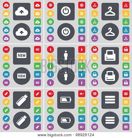 Cloud, Power, Hanger, New, Silhouette, Printer, Usb, Battery, Apps Icon Symbol. A Large Set Of Flat,