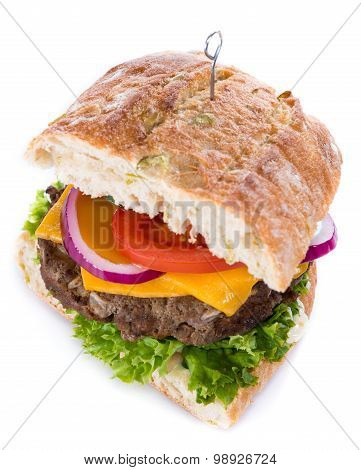 Ciabatta Burger Isolated On White