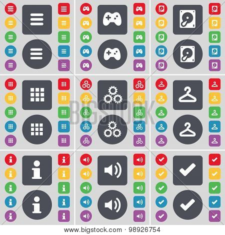 Apps, Gamepad, Hard Drive, Apps, Gear, Hanger, Information, Sound, Tick Icon Symbol. A Large Set Of