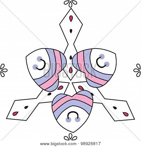 Seamless Abstract Ornament In Blue, Pink And White