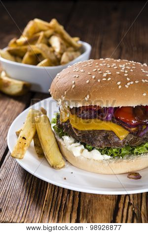 Beef Burger With Cheese And Chips