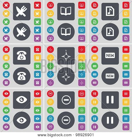 Fork And Knife, Book, Music File, Retro Phone, Compass, New, Vision, Minus, Pause Icon Symbol. A Lar