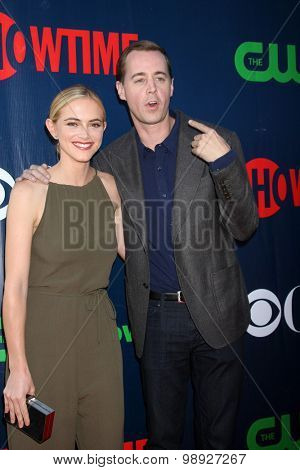 LOS ANGELES - AUG 10:  Emily Wickersham, Sean Murray at the CBS TCA Summer 2015 Party at the Pacific Design Center on August 10, 2015 in West Hollywood, CA