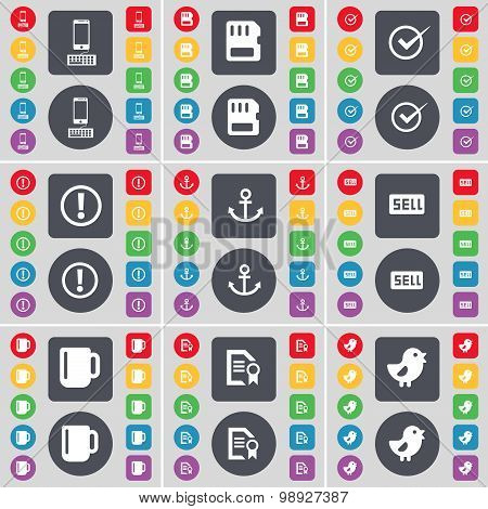 Smartphone, Sim Card, Tick, Warning, Anchor, Sell, Cup, Text File, Bird Icon Symbol. A Large Set Of