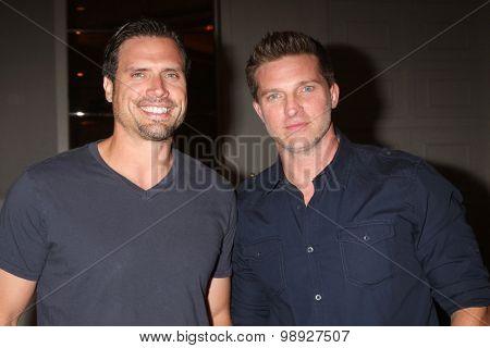 LOS ANGELES - AUG 15:  Joshua Morrow, Steve Burton at the